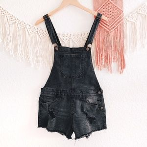 Forever 21 Black Distressed Shorts Overalls